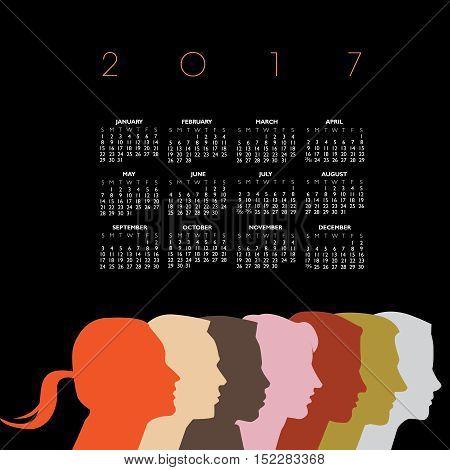A creative new 2017 diversity calendar for print or web use