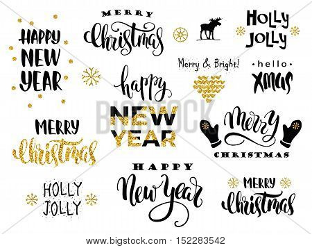 Merry Christmas And Happy New Year. Vector Lettering Calligraphy Design.