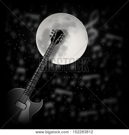 vector illustration-Guitar the background of the moon