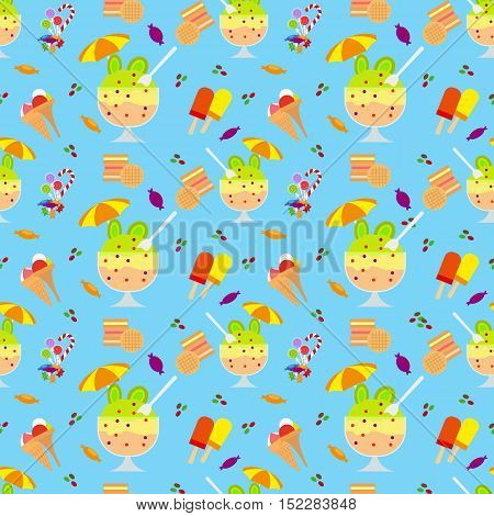 Ice cream and candies seamless pattern on blue background vector illustration