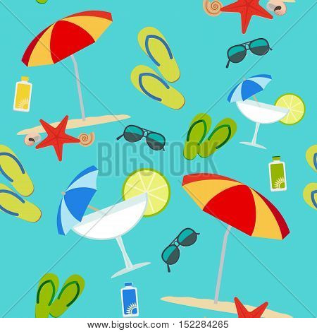 Vector summer items seamless pattern on blue background