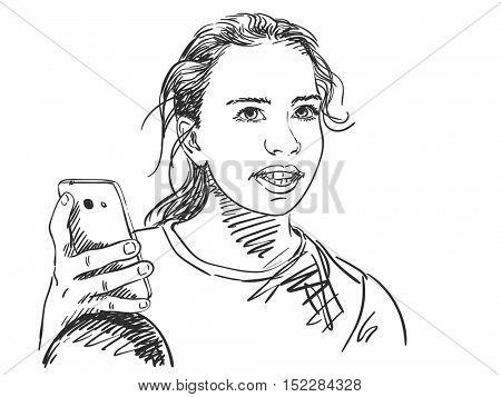 Sketch of teenager girl using smart phone, Hand drawn vector illustration