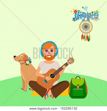 Hippie vector illustration. Barefoot man with dog and backpack sitting on the mat