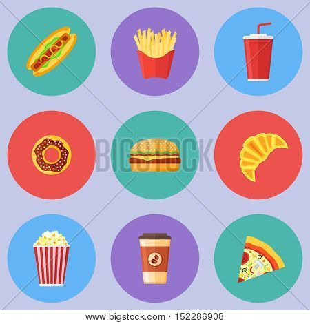 Set of fast food flat round icons. Hot dog, hamburger, pizza, french fries, donut, croissant, popcorn, coffee and soda takeaway. Vector illustration.