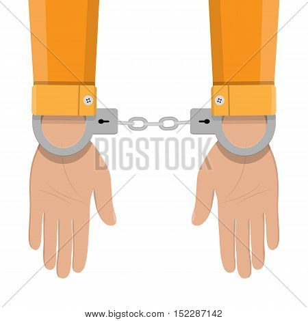 human hands in silver handcuffs. vector illustration in flat design on white background