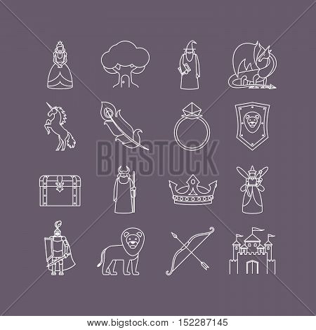 Fairy tale thin line art white icon set. Vector illustration