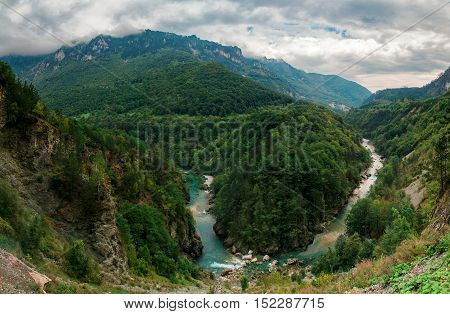 Clear Azure River Canyon, Green Forest Mountains, Nature Landscape