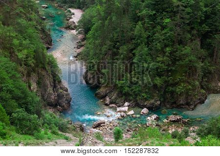 Azure Clear River Canyon And Green Forest, Nature Landscape