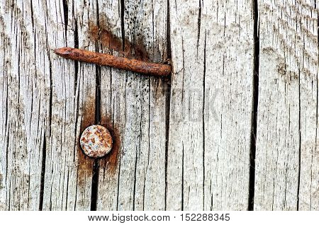 Background rusty nails in an old cracked wood
