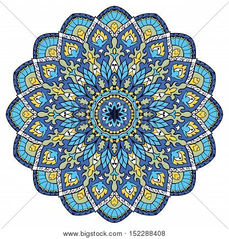 Blue vector mandala. Template for carpet shawl textile fabric wallpaper. Oriental ornament. Ec for design.