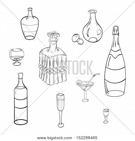 Set of Hand-Drawn Glasses Bottles and Glass Decanters.Sketch Drawing Glasses isolated on White. Vector Illustration.