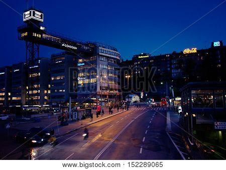 STOCKHOLM, SWEDEN - OCTOBER 5, 2011: Evening scene at
