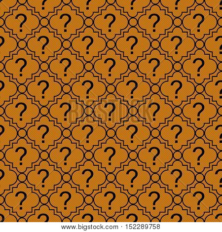 Orange and Black Question Mark Symbol Pattern Repeat Background that is seamless and repeats