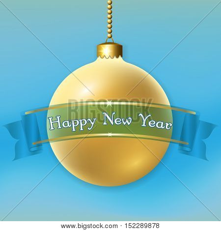 Merry Christmas decoration witn ribbon Happy New Year text. Blue and gold ball isolated on light-blue background. Bright golden bauble design for holiday. Xmas celebration. Vector illustration