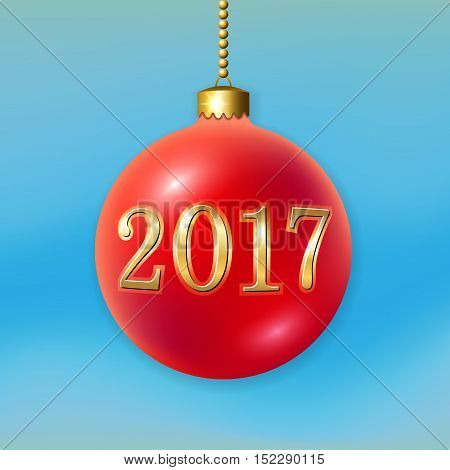 Merry Christmas 3D bauble decoration with gold 2017 number. Red ball isolated on light-blue background. Bright golden holiday design. Xmas Happy New Year celebration. Vector illustration