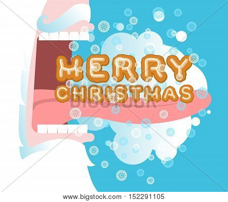 Santa Claus Open Mouth. Santa Eating Gingerbread On Christmas. Steam From Mouth. Flying Snow. New Ye
