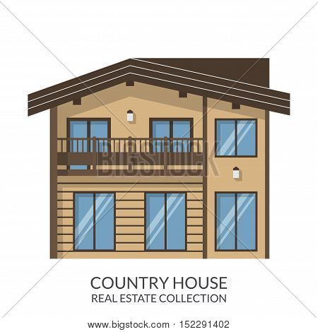 Country house, real estate sign in flat style. Vector illustration