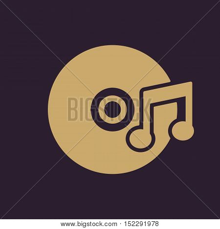 The music icon. Disc symbol. Flat Vector illustration