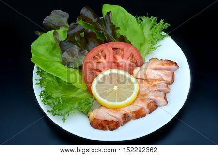 Salad With Smoke Grill Ham