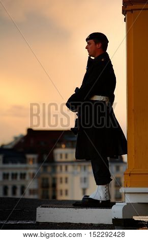 Stockholm, Sweden - September 19, 2012: Royal Palace Royal Guard on post in front of the sentry box at castle's north side.
