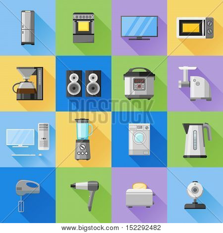 Set of home, household, kitchen appliances icons. Flat style vector illustration.