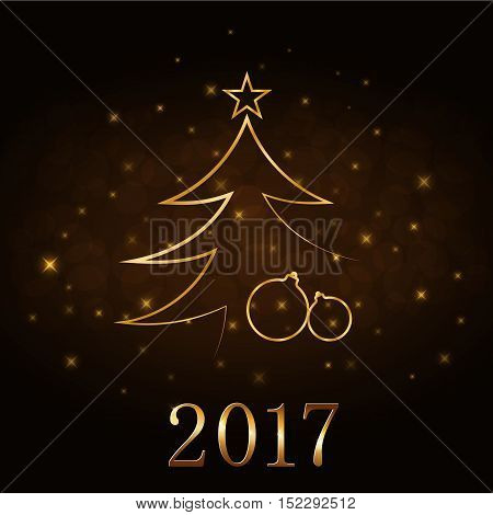 Happy New Year and Merry Christmas celebration background gold numbers 2017 Xmas balls. Decorative golden bauble star. Sketch for card greeting. Light holiday decoration. Vector illustration