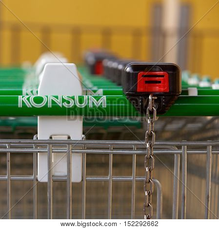 Trosa, Sweden - September 15, 2012: Shopping carts lined up in a row ready for customers at the Konsum store in Trosa.