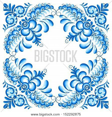 Vector blue floral ornament napkin decoration in Russian gzhel style