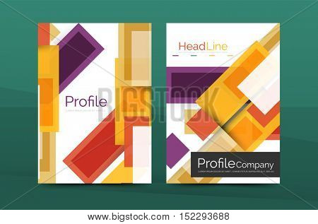 Straight lines geometric business report templates. Vector abstract background set