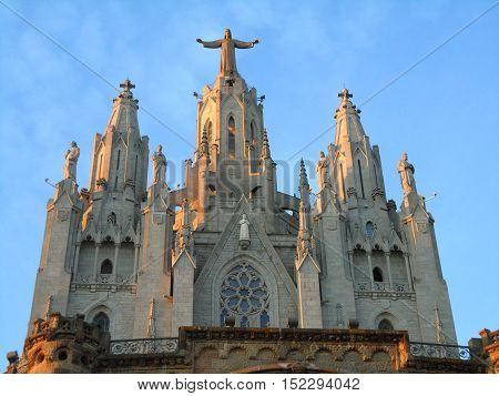 Stunning Church of the Sacred Heart at the top of Mount Tibidabo in Barcelona, Spain