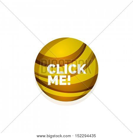 Vector abstract sphere button template. Minimalistic geometric clean style