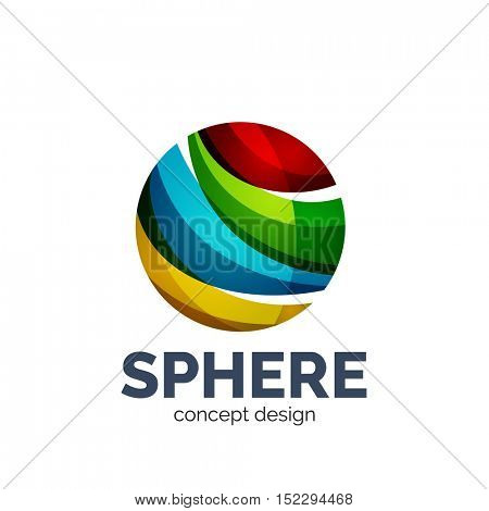 Vector sphere abstract logo template. Colorful unusual business icon