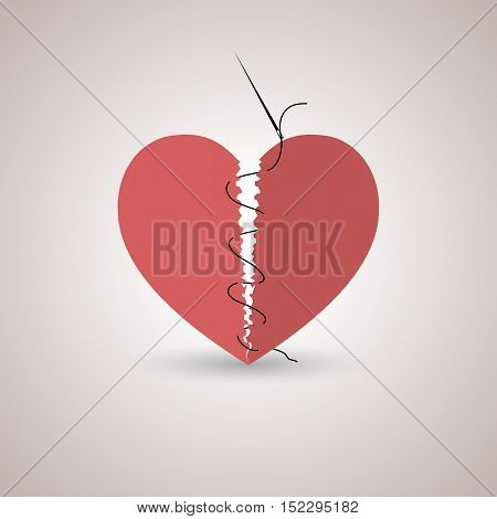 Icon red paper broken heart stitched thread with shadow flat style isolated on a light background vector illustration.