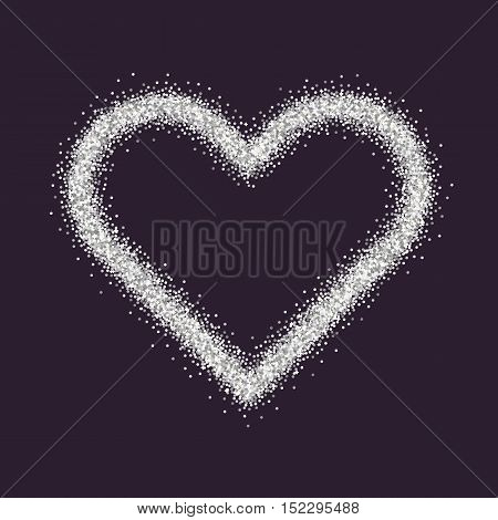Valentine's Day symbol. Heart. Silver sparkles and glitter Vector illustration
