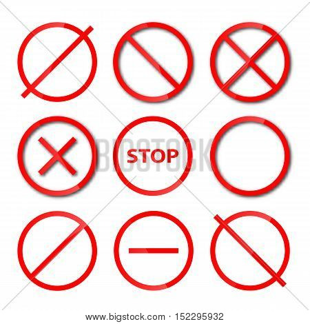 Set of red round different shapes prohibition signs isolated on white background vector illustration.