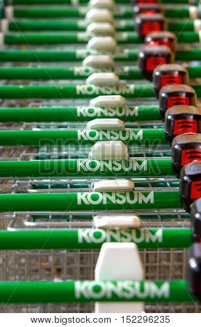 Trosa, Sweden - September 15, 2012: Shopping carts lined up in a row ready for customers at the Konsum grocery store in Trosa.