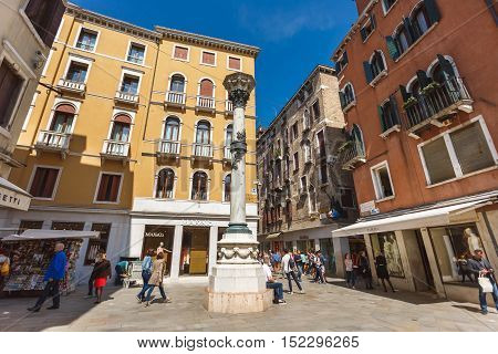 Venice Italy - May 05 2016: The monument on the square of San Salvador the landmark near Rialto bridge spring time