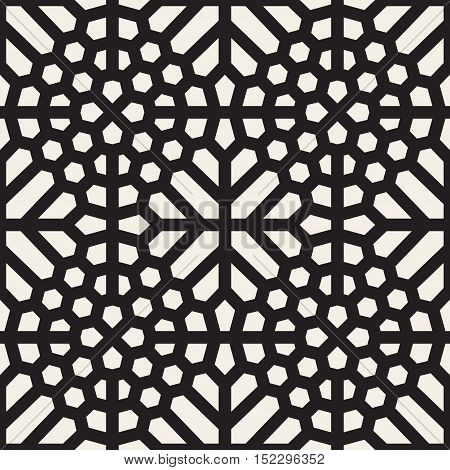 Vector Seamless Black And White Ethnic Mosaic Pattern. Abstract Geometric Background Design