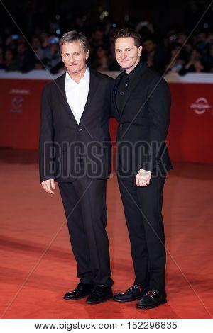 Rome Italy - October 17 2016: Viggo Mortensen and director Matt Ross walk a red carpet for 'Captain Fantastic' During The 11th Rome Film Festival at Auditorium Parco Della Musica.