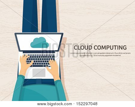 Vector illustration. Workplace, table with documents, computer. Flat cloud computing background. Media, data server. Web storage.CD. Paper blank. Digital technologies. Internet connection.