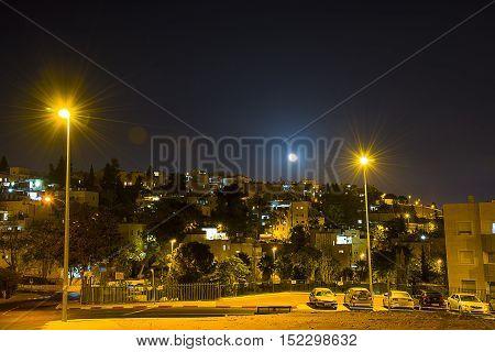 Modern high rises in Jerusalem Israel Night Jerusalem neighborhood of Ramot.