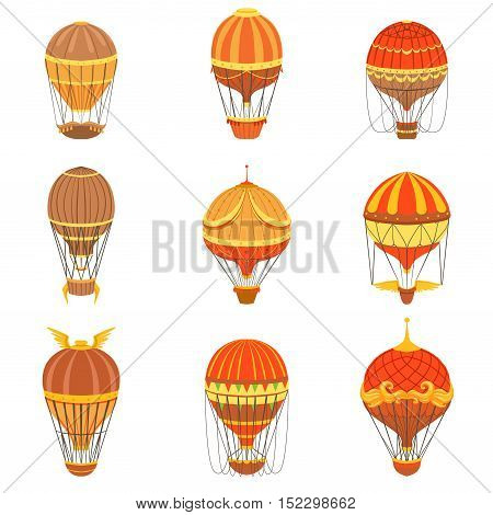 Vintage Hot Air Balloons Set.. Detailed Vector Drawings In Orange An Red Colors. Old-school Air Travel Transportation Design Collection.