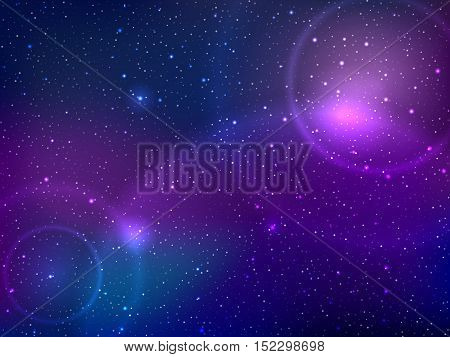 Space background with stars and patches of light. Abstract illustration of astronomical galaxie. Vector illustration.