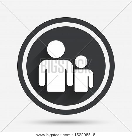 Group of people sign icon. Share symbol. Circle flat button with shadow and border. Vector