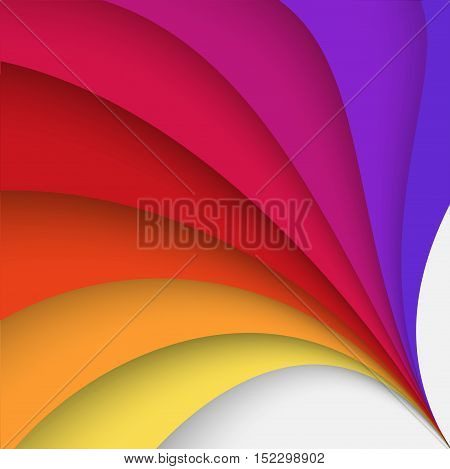 Abstract colorful background with twisted forms, vector graphic includes brown, yellow, orange, red and violet colors.