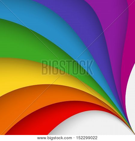 Abstract colorful background with twisted forms, vector graphic includes spectral rainbow colors as red, orange, yellow, green,  blue deep blue and violet.