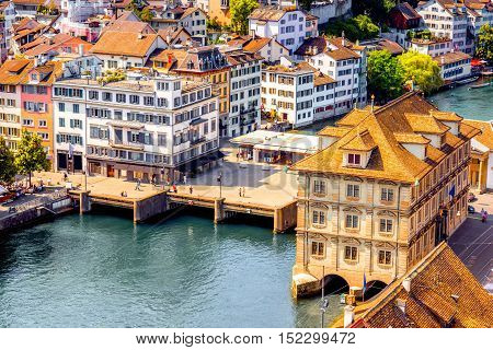 Aerial view on the town hall and bridge in Zurich city in Switzerland