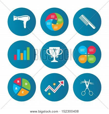 Business pie chart. Growth curve. Presentation buttons. Hairdresser icons. Scissors cut hair symbol. Comb hair with hairdryer symbol. Barbershop winner award cup. Data analysis. Vector