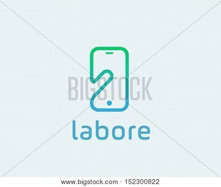 Smart phone negative space logo symbol. Touch screen finger monitor mobile phone hand creative sign. Tablet PC, gadget idea vector logotype.