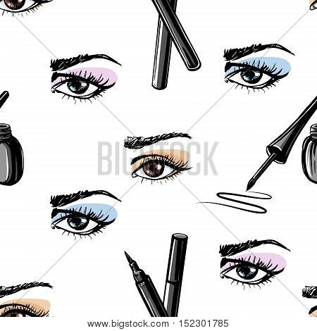 Seamless vector hand drawn pattern of woman eye and makeup elements. Concept for beauty salon cosmetics label cosmetology procedures visage and makeup.